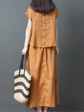 Summer Short Sleeve Paneled Top With Skirt Daily Casual Shift Linen Set