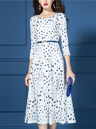 White Polka Dots Printed Paneled A-Line Date Midi Elegant Dress