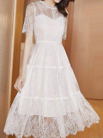 Summer Stand Collar White Lace Zipper Date Midi Elegant Dress