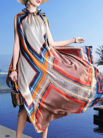 Summer Multicolor  Sleeveless Swing Casual Silk Maxi Holiday Dress