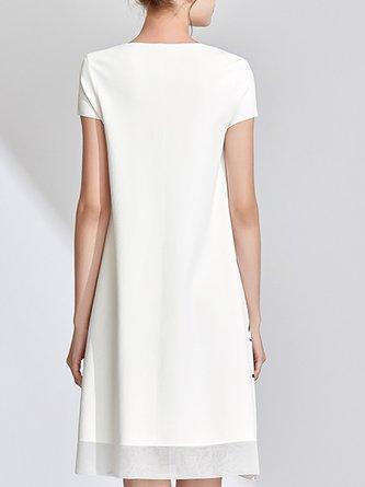 White V Neck Casual A-Line Daytime Printed Midi Dress