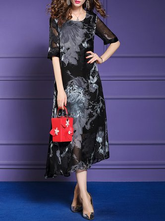 Black Summer Casual Shift Acrylic Leaf Printed Maxi Holiday Dress