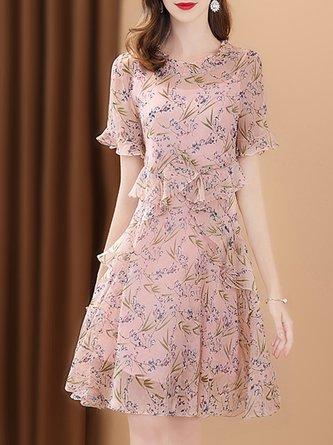 Pink Summer A-Line Date Floral Printed Folds Midi Elegant Dress