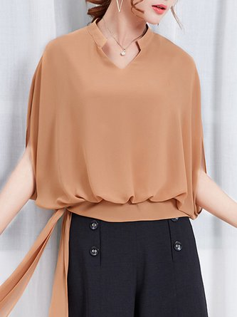 Casual Batwing Solid Stand Collar Summer Top