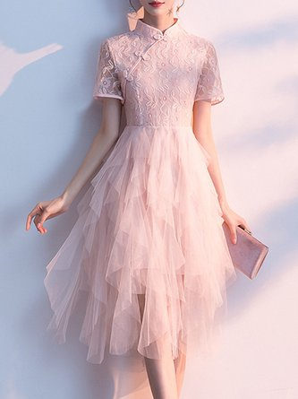 Solid Lace Stand Collar Summer A-Line Prom Elegant Midi Dress