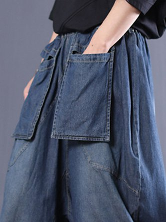 Summer Solid Blue Paneled Shift Casual Wide Leg Jeans Pants