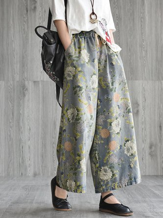 Summer Long Daily Casual Shift Floral Printed Wide Leg Pants