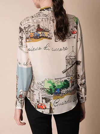 Stand Collar Spring Printed Buttoned Sweet Blouse