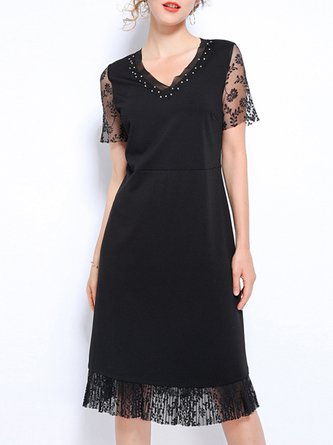 V Neck Black Summer A-Line Daily Casual Solid Work Midi Dress