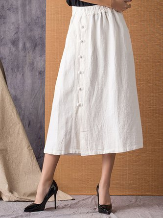 Summer Solid Daily Casual A-Line Buttoned Maxi Linen Skirt