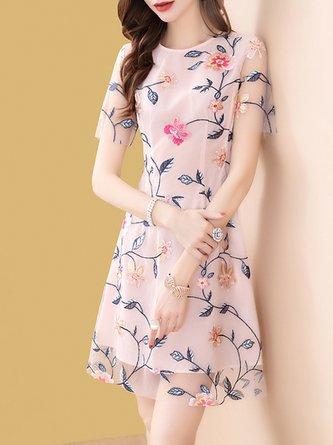Pink Summer A-Line Daily Paneled Leaf Embroidered Elegant Mini Dress