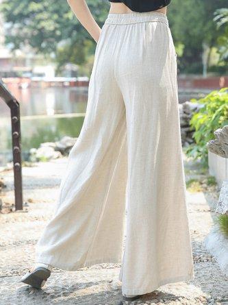 Summer Solid Pockets Paneled Casual Wide Leg Linen Pants