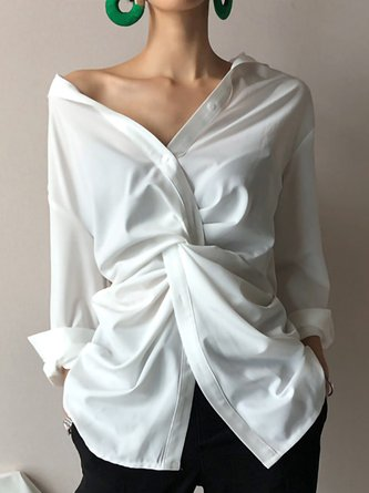White Shirt Collar Statement Knot Front Blouse