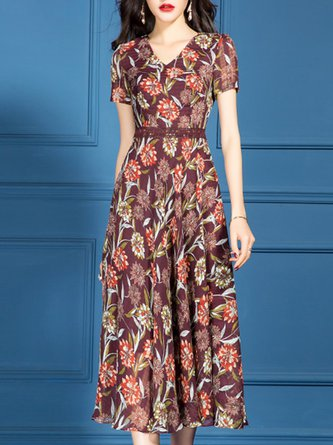 Date A-Line V Neck Short Sleeve Elegant Floral Printed Midi Dress