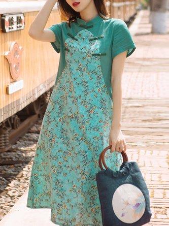 Stand Collar Aqua Summer A-Line Daily Floral Printed Maxi Linen Dress