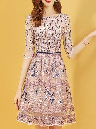 6431bb306dd Apricot Summer A-Line Date Paneled Floral Elegant Midi Dress