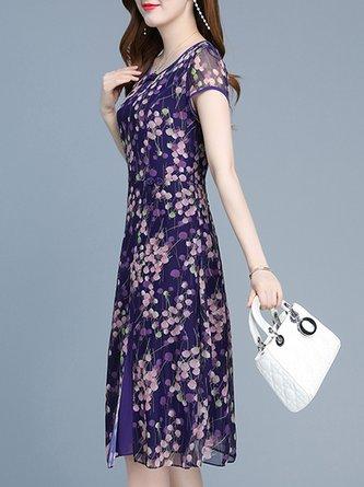 Blue Purple Summer A-Line Daily Casual Paneled Midi Dress