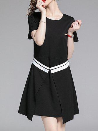 d63b8b7c0a9 Black Summer A-Line Daily Paneled Solid Casual Mini Dress