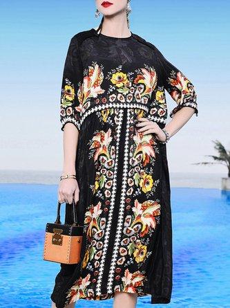 Black Summer Shift Holiday Paneled Floral Printed Midi Dress