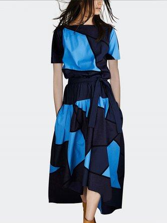 Blue Summer A-Line Daily Color-Block Midi Elegant Dress
