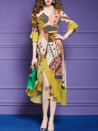 V Neck Yellow Summer A-Line Party Asymmetric Holiday Maxi Dress