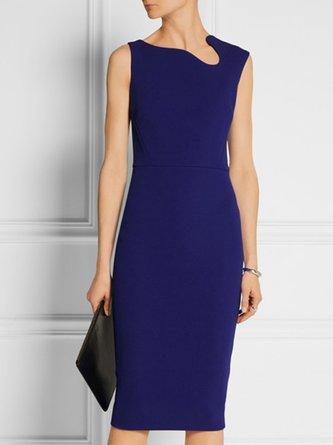 Blue Work Sheath Going Out Asymmetric Solid Midi Dress