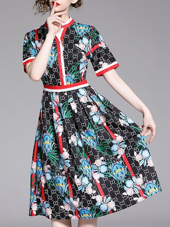 V Neck Short Sleeve A-Line Floral Going Out Paneled Midi Dress