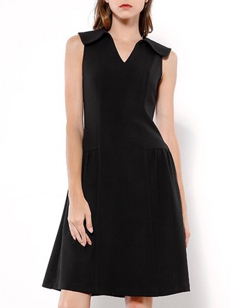 V Neck Black Party A-Line Business Paneled Solid MIdi Dress