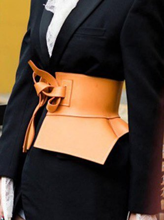 Women PU Party Date Leather-Paneled Statement Belt