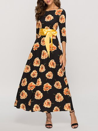 Summer A-Line Party Holiday Paneled Vacation Floral Maxi Dress
