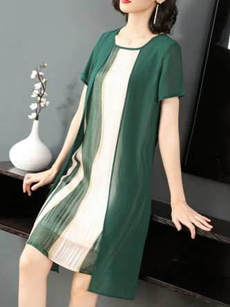 Square Neck Short Sleeve Shift Daytime Color-Block Casual Midi Dress