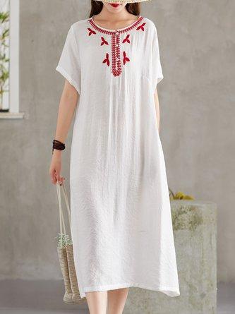 Crew Neck Short Sleeve Boho Linen Dress