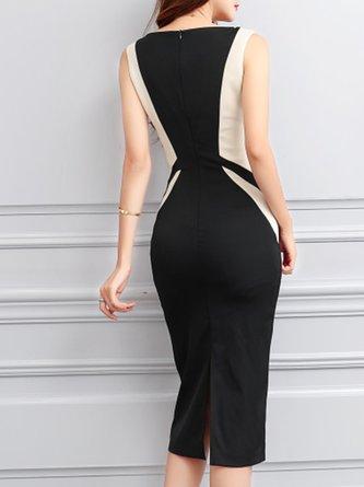 3c5e3781b8 Black Sexy Bodycon V neck Sleeveless Color-block Work Midi Dress