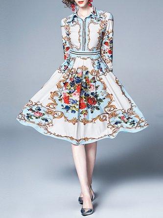 Light Blue Summer A-Line Paneled Buttoned Elegant Midi Dress