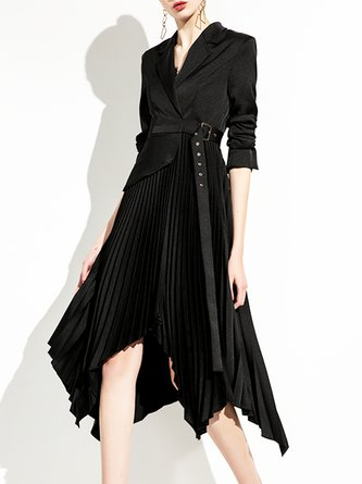 Work Statement Asymmetrical Paneled Solid Midi Dress