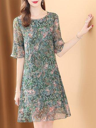 Summer Crew Neck A-Line Printed Leaf Elegant Date Midi Dress