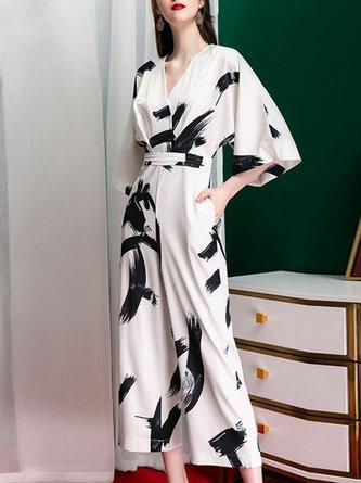 Summer White 3/4 Sleeve Shift V Neck Elegant Work One-Piece Jumpsuit
