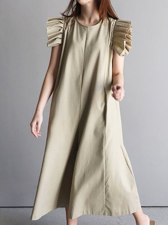 Summer Solid Shift Daily Paneled Casual Frill Sleeve Maxi Dress