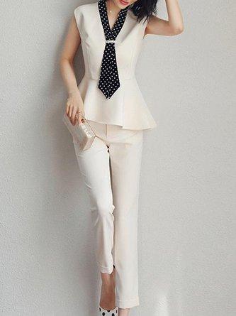 White Elegant Short Sleeve V Neck Suit Work Set