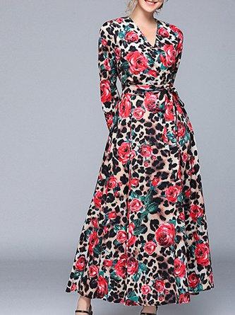 aec1e1c364f V Neck Floral Leopard-Print Swing Daytime Elegant Maxi Dress