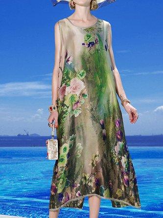 Sleeveless Shift Holiday Printed/Dyed Slit Midi Dress
