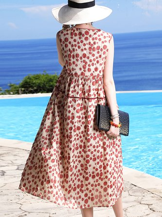 Red Polka Dots Shift Sleeveless Holiday Midi Dress
