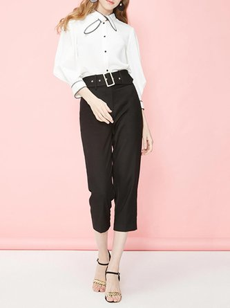 White Long Sleeve Piping Stand Collar Work Top