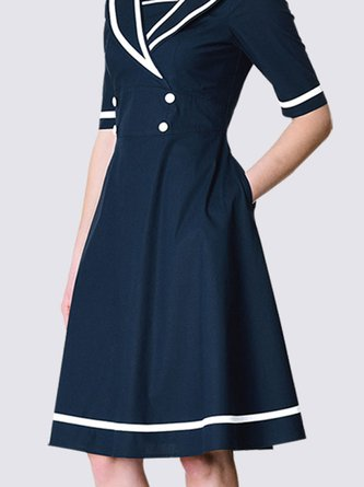 Gathered Color-block Elegant Midi Dress