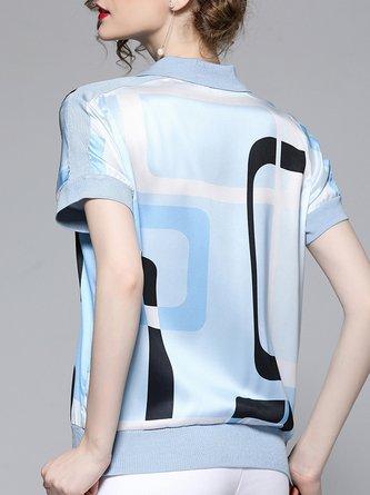 Blue Short Sleeve Casual Shift Printed T-Shirt