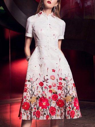 Summer Shirt Collar Date Floral Elegant Midi Dress