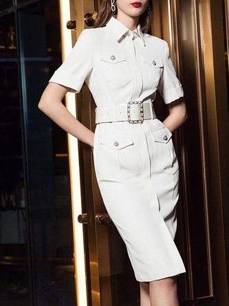 Summer Shirt Collar Sheath Work Beaded Elegant Midi Dress