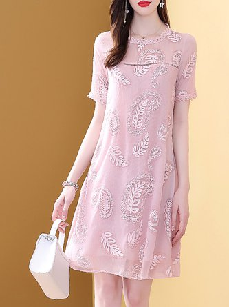 Summer A-Line Daily Casual Embroidered Midi Dress