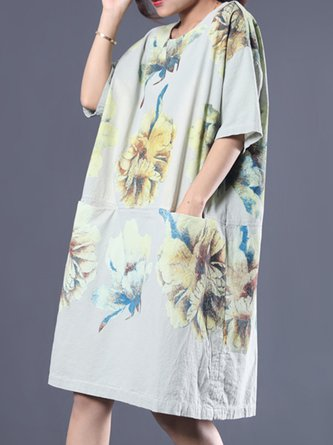 Summer Floral Printed Paneled Casual Pockets Linen Dress