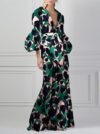 Deep V-Neck Green Summer Holiday Elegant Paneled Maxi Dress